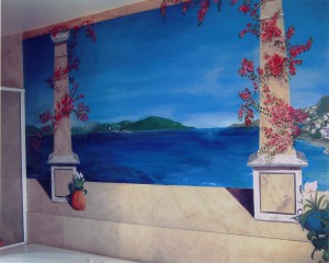 Grecian Seaview Mural